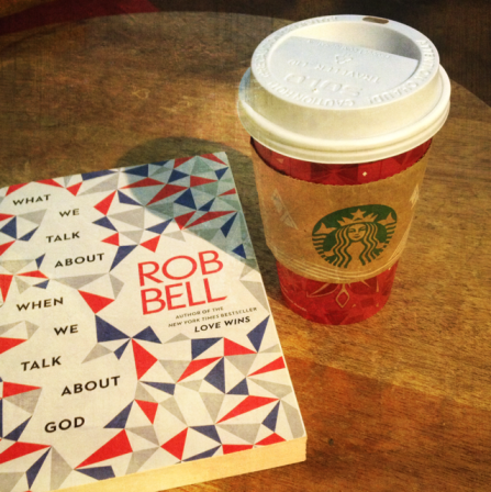 new books and holiday cups. distressed FX vanilla filter.