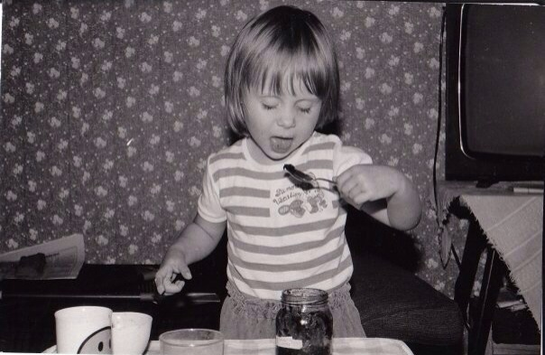 Age 3. I made myself lunch. Note the back-up spoon in my right hand.